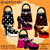 Spotty Shiny Bags n Shoes Clipart Collection