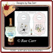 PS176 Wine, Champagne, Beer Bottle Gift Tags for Weddings Anniv