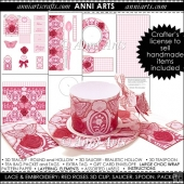 Lace and Embroidery: Red Roses 3D Cup Teacup, Saucer, Spoon