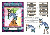 Stained Glass South West Kokopelli - 5 x 7 Card Topper Plus Span