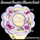 Summer Pansies Flower Shaped Card