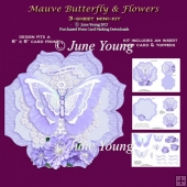 Mauve Butterfly & Flowers - 3-Sheet Mini-Kit