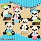 Little Panda Bears Cupcakes ClipArt Graphic Collection
