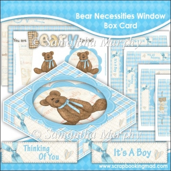 Bear Necessities Blue Window Box Card