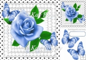 pretty blue roses on lace with polka dots & butterflies 8x8
