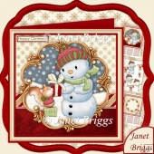 Christmas Snowman & Squirrel 8x8 Decoupage & Insert Kit