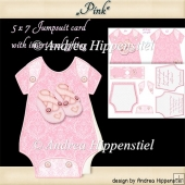 Baby Jumpsuit Shape Card pink