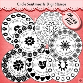 Circle Sentiments Digi Stamps CU OK