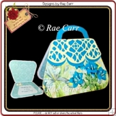 674 Blue & Cream Purse HAND and MACHINE Formats