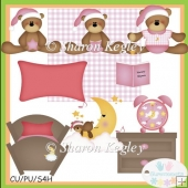 Bed Time Bears Pink Clip Art