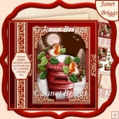 CHRISTMAS ROBINS ON POST BOX 7.5 Decoupage & Insert Kit
