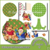 Christmas Ted Plate Card & Stand With Decoupage