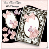 Pink Rose Frame Card Front/Topper