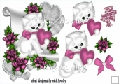 cute kitty lovely pink heart and roses & bow with a scroll