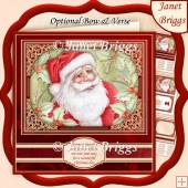 CHRISTMAS SANTA & HOLLY 7.8 Quick Christmas Card & Insert