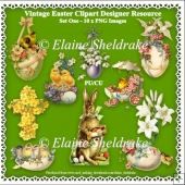 Vintage Easter Clipart - Set One - Designers Resource - 10 x PNG