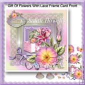 Gift Of Flowers With Lace Frame Card Front