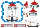 "Seaside Lighthouse & Seagull - 6"" x 6"" Card Topper & Decoupage"