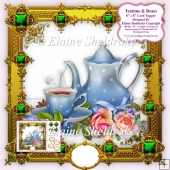 "Teatime With Roses - 8"" x 8"" Card Topper"