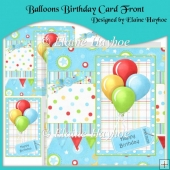 Balloons Birthday Card Front with Decoupage