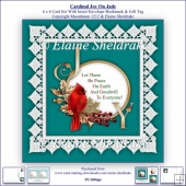 Cardinal Joy On Jade 6 x 6 Card Kit + Insert Envelope Bookmark