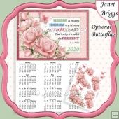 PALE PINK ROSES 2020 A4 Calendar with Decoupage Mini Kit