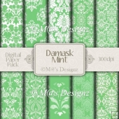 Damask in Mint Paper Pack CU4CU