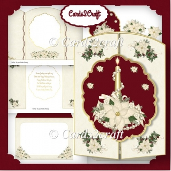 Poinsettia and candle gatefold card set