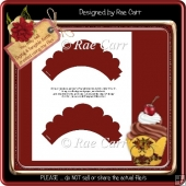 T007 Shaped Scalloped Cupcake WrapperTemplate PDF & PNG