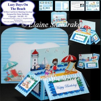Lazy Days On The Beach - 3D Pop Up Box Card Kit & Matching Envel