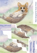 Taking it easy, Corgi dog in a hammock, wavy edged stacker