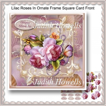Lilac Roses In Ornate Frame Square Card Front