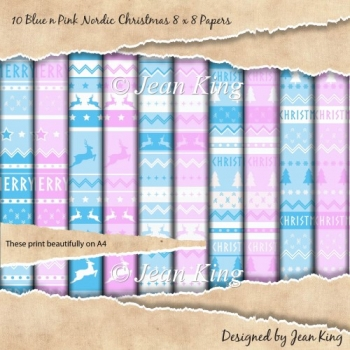 10 Blue n Pink Nordic Christmas 8 x 8 Papers