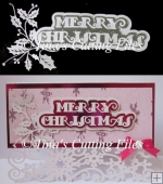 Christmas Card Topper Merry Christmas and Holly detail