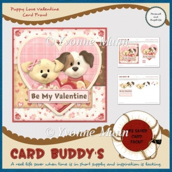 Puppy Love Valentine Card Front