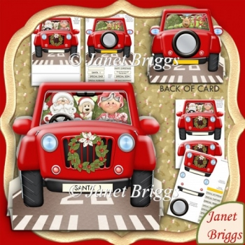 Christmas Shopping Jeep 3D Shape Card & Decoupage Kit