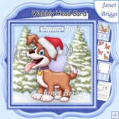 CHRISTMAS DOG WOBBLY HEAD CARD 7.5 Decoupage & Insert Mini Kit