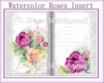 Watercolor Roses Card Insert