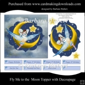 Fly Me to the Moon Topper with Decoupage