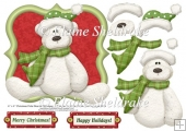 Christmas Polar Bear Card Topper With Decoupage