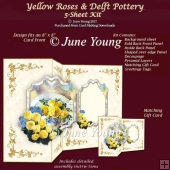 Yellow Roses & Delft Pottery