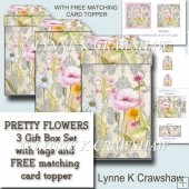 PRETTY FLOWERS - set of 3 Gift Boxes and with FREE CARD TOPPER