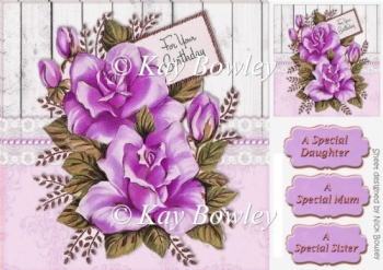 for your birthday lilac roses 8x8