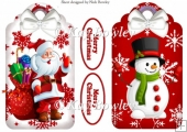 santa and jolly snowman on snow flake tags