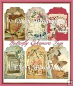 Butterfly Ephemera Collage Tag Set
