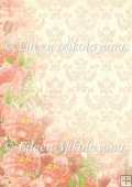 Vintage Look Damask Roses Backing Background Paper
