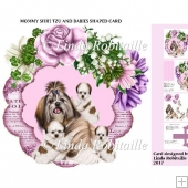 Mommy Shih Tzu And Puppies Shaped Card