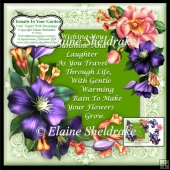 "Clematis In Your Garden - 7"" x 7"" Card Topper With Decoupage"