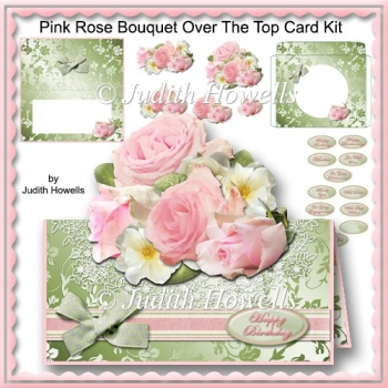 Pink Rose Bouquet Over The Top Card Kit