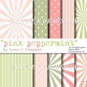 PINK PEPPERMINT - 10 X A4 high quality printable digital papers